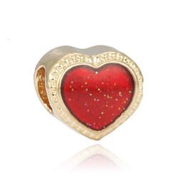 Disc Bracelet Australia - European Pandora Charms Metal Bead Fits Pandora Jewelry Bracelets 10 colors love heart DIY disc beads for bracelets charm Loose Beads