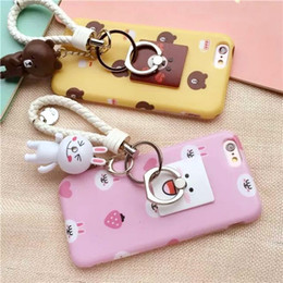 $enCountryForm.capitalKeyWord Australia - 50pcs Cute cartoon little bear Pendant Pink white rabbit Yellow plastic case cover for Apple iphone 6 6s plus fashion cool bear ring