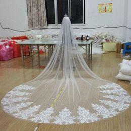 $enCountryForm.capitalKeyWord Canada - New Vintage Bridal Veils cut edge veil bridal accessories one layer Three Meters Cathedral Long Veils Bridal Veils for wedding Luxury Lace
