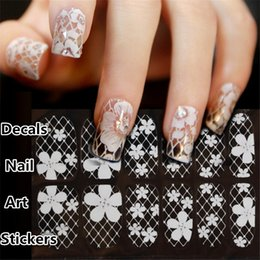 Vente De Vernis À Ongles Pas Cher-Ventes de commerce extérieur ongles autocollants à ongles autocollants de dentelle blanche Ongles 16 ongles Art Stickers Stickers manucure collent 4162