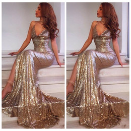 $enCountryForm.capitalKeyWord Australia - Gold Sequined Dresses 2018 Sexy Deep V Neck Mermaid Prom Dress Long Spaghetti Straps Formal Evening Gown Pageant Dress Cheap