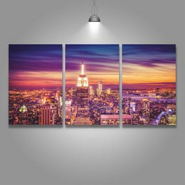 Pictures Decorated Living Rooms NZ - 3 Panel Canvas Wall Art Prints Nigth View of New York Painting City Picture for Home Decor Living Room Decorate Room