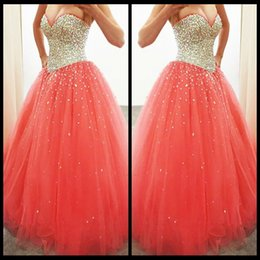 $enCountryForm.capitalKeyWord Canada - Charming 2016 Coral Sweetheart Strapless Ball Gown Tulle Quinceanera Dress With Beaded Bodice Sweet 16 Princess Dress
