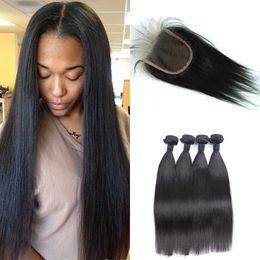 Discount 16 inch peruvian closure hair - Mongolian Straight Human Hair Weaves Closure Natural Black Mongolian Virgin Hair Bundles With Closure G-EASY