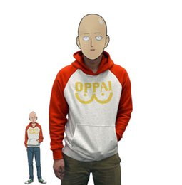 Costume Cosplay Héroïne Pas Cher-Un Punch Man Héros Saitama Oppai Hoodie Cosplay Costume Hooded Veste Sweat-shirts Taille S-2XL