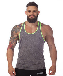 Barato Colete Sem Mangas Atlético-Men Tank Top Pure Color Basis Fitness Algodão Sports Vest Bodybuilding Gym Sem mangas Plain Athletic Training Clothes