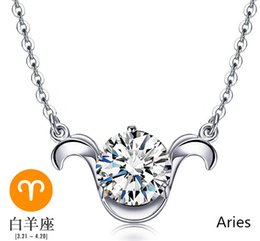 $enCountryForm.capitalKeyWord NZ - 925 sterling silver pendants necklaces woman jewelry charms white gold constellation lucency shiny crystal diy chains 2016 new arrive 6 pcs