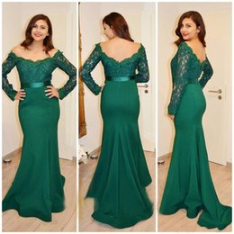 Barato Fita Do Vestido De Noite-2k17 Hunter Green Arab Mermaid Prom Dresses Manga comprida Lace Appliques Vestidos De Fiesta Backless Evening Gowns com fita