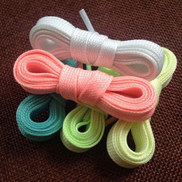 Discount string family 20Pcs Brand New Luminous Glow In The Dark Shoelace Flat Athletic Sport Boots Shoe Laces Strings 10Pairs Free Shipping [CA12264*10]