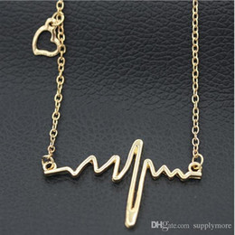 $enCountryForm.capitalKeyWord Canada - Simple Wave Heart Necklace Chic ECG Heartbeat Gold Plated Pendant Charm Lightning Necklace for Women Vintage Jewelry Accessories