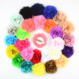 Discount roses for hair - 8cm chiffon fabric rose flower with alligator clip for baby hair accessory 24pcs lot free shipping