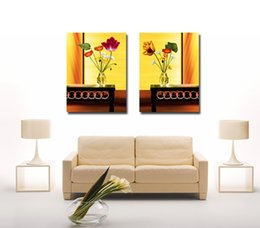 tulips flower cartoon UK - Free shipping 2 Pieces no frame on Canvas Prints potted flower Chrysanthemum Pottery Apple Porcelain tulips shoes abstract Home decoration
