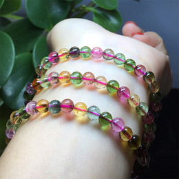 $enCountryForm.capitalKeyWord Canada - Natural Top Grade Genuine Clear Colorful Mix Tourmaline Multi-color Stretch Bracelet Round Beads Necklace 3 Turns 04443