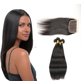 Discount human hair bundles closure deal - 7A Malaysian Straight Hair 3 Bundles With Closure Virgin Unprocessed Human Hair Wefts Hair Extensions Deal With Mixed Le