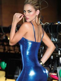 Ropa De Cuero Para El Sexo Baratos-Latex Catsuit de cuero Babydoll Lengerie Costume Sexy Pole Dance Dress Lencería Night Clubwear Backless erótico sexo ropa negro