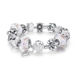$enCountryForm.capitalKeyWord Canada - The Key to My Heart Silver Charm Bracelets with Light Purple Floral Munano Glass Beads Fashion DIY Bangle Bracelets for Women BL141