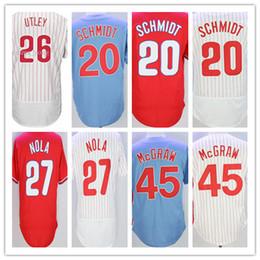 b4d0db522 Philadelphia Jerseys 20 Mike Schmidt 27 Aaron Nola 45 Tug Mcgraw 26 Chase  Utley throwback baseball Jerseys Blue White Grey Stitched ...