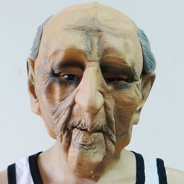 hot sale men latex mask creepy costume party cosplay props scary old man mask for halloween terror cos