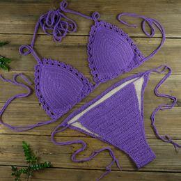 $enCountryForm.capitalKeyWord Canada - Handmade Sexy Women Lady Crochet Bikini Bathing Swimsuit Suit - Padded Crochet Swimwear Purple - Hollowing Beach Bikini sets 13 Colour