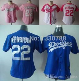 new concept 3dfb6 1bcd9 los angeles dodgers 22 kershaw pink with white womens jersey