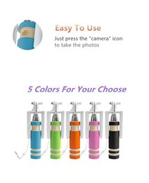 Cell Phone Monopod Canada - Mini Selfie Monopod Wired Selfie Stick Handheld Extendable pen pocket foldable Self-portrait Stick Holder with Cable for Cell Phone DHL Free