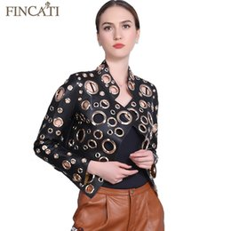 China Wholesale- Women Jacket 2017 New PU Leather Punk Metal Circle Rivets Hollow Out Holes Motorcycles Coat Streetwear Outwear Coat Clothing cheap rivet motorcycle clothing suppliers