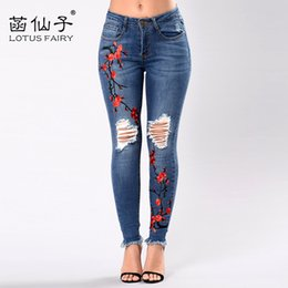 Vintage Skinny Skinny Jeans Pas Cher-Gros-Broderie taille haute femme jeans skinny Vintage Ripped freddy pantalons Stretch crayon fond féminin Elastic Denim pantalons mujer
