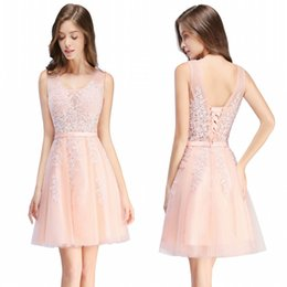 China 2017 Cheap Short Cocktail Dresses Red Gray Blue Homecoming Dresses A Line V Neck Tulle Appliques Beaded Prom Gowns with Lace-up Back CPS341 cheap winter club suppliers