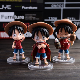 luffy toys 2019 - 3pcs set Q Style One piece Luffy 11cm pvc Action Figures Toy dolls Classic Toys Free Shipping in stock discount luffy to