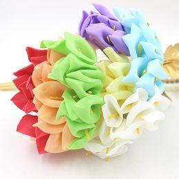 Chinese  New 144Pcs Lot 2.5cm Head Handmade PE Foam Calla Lily Flower Wedding Bouquet Artificial Decoration For DIY Wedding Decoration) manufacturers