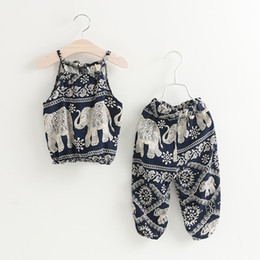 Discount kids elephant top - Summer Europe Fashion Girls Vintage Clothing Set Kids Irregular Elephant Floral Sun-top + Pants Children 2pcs Outfits Su