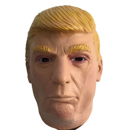 Costumes Donald Pas Cher-US President Trump Latex Mask Full Head Donald Trump Masques en caoutchouc Halloween Masquerade House Party Costume Cosplay Props Adultes Taille