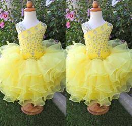 Mini Cupcake Black Australia - Modest Light Yellow Beading Crystal Rhinestone Beautiful Little Girl's Pageant Dresses Mini Cascading Ruffles Toddlers Cupcake Party Gowns
