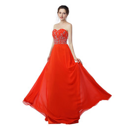 Chinese  2017 New Real Photo Sexy Sweetheart Long Prom Dresses Off The Shoulder Chiffon With Beading Red A-Line Evening Dress Hot Sale manufacturers