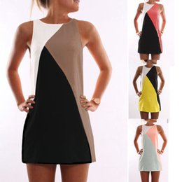 $enCountryForm.capitalKeyWord Canada - Women Summer Casual T-shirt Sleeveless Evening Party Beach Dress Short Mini Tops Vestido Office Casual Clothing Sexy Patchwork A-line S-5XL