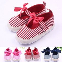 $enCountryForm.capitalKeyWord Australia - High Quality Baby Canvas Shoes Toddler Shoes Leisure Stripes Collocation Bow Small Cute 2016 new collection
