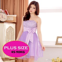 Barato Vestidos De Princesa Peito-XL-3XL Purple Color Sweetheart Princesa Mini Irmãs Vestidos Off Shoulder Wraped Chest with Bow Sashes Vestido de dama de honra Gauze de cetim