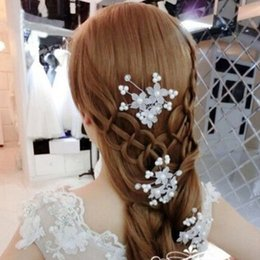 Barato Clipes De Flores Por Atacado Para Cabelo-Atacado- Moda Casamento Bridal Pearl Flower Crystal Hairpin Hair Clips Bridesmaid Party Supplies
