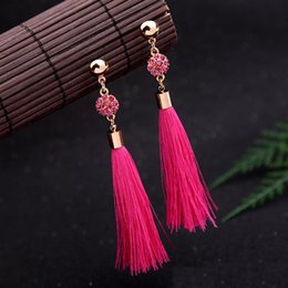 $enCountryForm.capitalKeyWord Canada - Bohemian Gold Crystal Long Tassel Charms Earrings Retro Thread Fringe Drop Earring Party Jewelry For Women