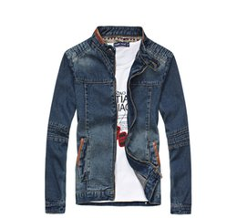 0c2dc9f88096 Jean Jacket mandarin collar online shopping - Men Jeans Denim Zipper Denim  Casual MIUK Brand XL