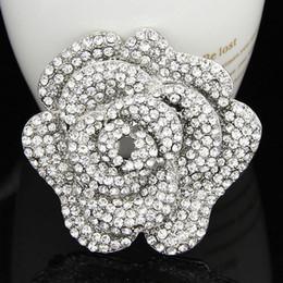 Flower Shape Brooches Canada - Shinning rhinestone crystal brooch pins flower shape fashion style wedding brooch for women B002