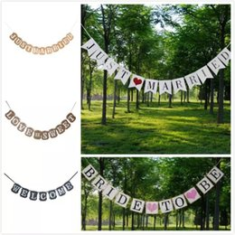 just married wedding props 2019 - JUST MARRIED Banner Car Home Wedding Party Decorations Bunting Garland Handmade Photo Booth Props Event & Party Supplies