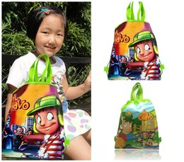 Barato Presentes Do Saco De Escola Do Aniversário-Min Order = 10PCS El Chavo Kids Cartoon Drawstring Mochilas School Bags 34 * 27CM Kids Best Birthday Gift Shopping Party Bags Frete Grátis