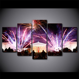 cities paintings 2019 - 5 Pcs Set Framed HD Printed Firework In City Festival Home Decor Poster Picture Landscape Canvas Wall Art Painting cheap