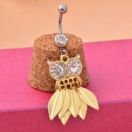 Owl belly buttOn online shopping - D0675 colors clear with gold plated Nice belly ring nice D0675 owl style belly piercing body jewlery navel belly ring body jewelry
