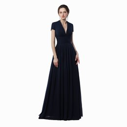 Chinese  Free shipping High Quality Elegant V-Neck A-Line Long Evening Dresses 2020 Chiffon With Pleat Floor-Length Evening PROM Gowns manufacturers