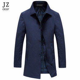 Maillot De Bain Pas Cher-Vente en gros- JZ CHIEF Trench-Coat Mens Casual Solide Couleur Costume Slim Fit pardessus Hommes Coupe-Vent Printemps Automne Veste Manteau Vert Trench-Coat