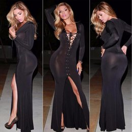 Sexy lace clubwear dreSSeS online shopping - Vestidos Summer Rivet Long Sleeve Maxi Lace Up Party Dresses Slit Side Black Sexy Clubwear Bodycon Dress