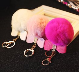 Cell Phone Jewelry Charms Canada - Wholesale-2pcs Korea Pretty Good Quality PU leather Bow Rabbit Fur ball Tassel DIY For Handbag Keychain Cell phone Straps Jewelry Charms