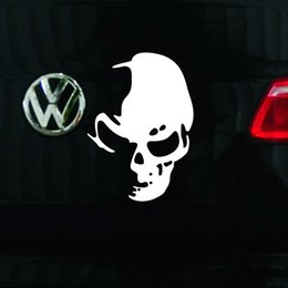 Skull Car Stickers Canada - Wholesale 14cm*10cm Cool Skull Car Reflective Stickers Funny Creative Car Styling Car Decoration 3D Chrome Stickers Moto Motorcycle Decal